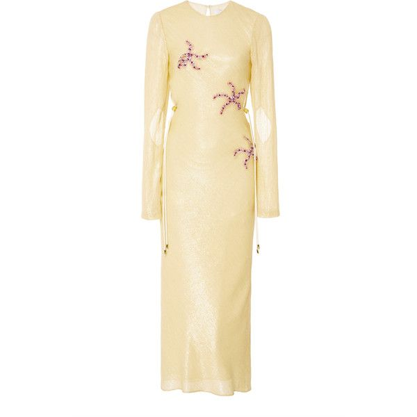 Markarian Piscinus Sequin Midi Dress (€2.355) ❤ liked on Polyvore featuring dresses, yellow, yellow sequin dress, sequin midi dress, midi cocktail dress, form fitting dresses and beige dress