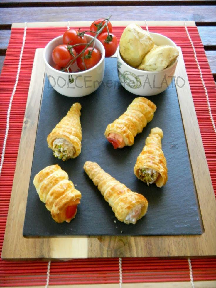 DOLCEmente SALATO: Conetti di sfoglia con creme salate