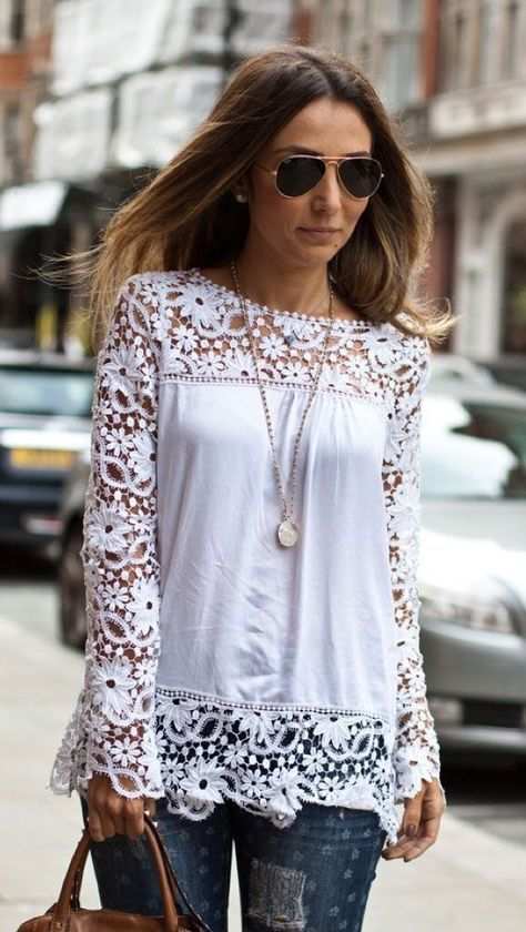 Best 25  White long sleeve tops ideas on Pinterest | Striped tops ...