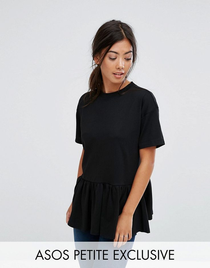 Get this Asos Petite's basic top now! Click for more details. Worldwide shipping. ASOS PETITE Exclusive Casual Smock Top - Black: Petite top by ASOS PETITE, Soft-touch cotton jersey, Crew neck, Short sleeves, Ruffle hem, Relaxed fit, Machine wash, 100% Cotton, Our model wears a UK 8/EU 36/US 4 and is 163cm/5'4 tall. 5�3�/1.60m and under? The London-based design team behind ASOS PETITE take all your fashion faves and cut them down to size. Say goodbye to all your short-girl problems with o...