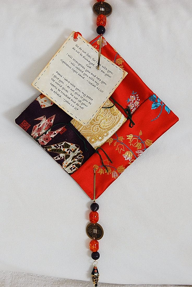 Pocket size prayer quilt.  Every time a knot is tied a prayer is said.