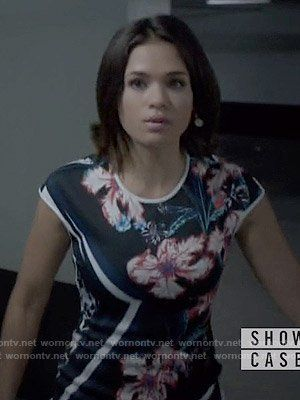 Heather's flower printed dress on Beauty and the Beast