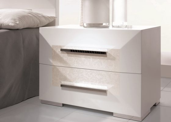 Vintage  Bedside tables with drawers in special white PERLATTO lacquered mod LUXURY PERLATTO