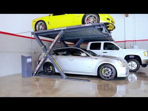 This parking lift Instantly doubles your parking space in your garage! Autostacker is the perfect garage lift and car stacker.
