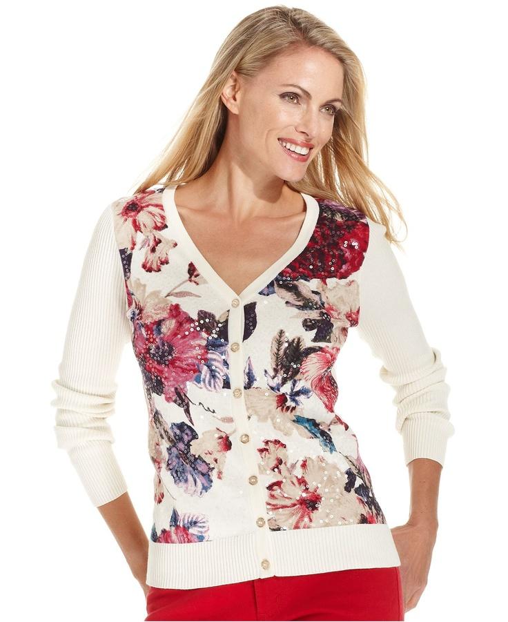 Charter Club Petite Cardigan, Long-Sleeve Floral-Print - Womens Petite Sweaters - Macy's
