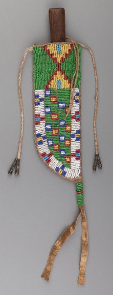 American Indian Art:Beadwork and Quillwork, A Sioux Beaded Hide Knife Sheath and Knife...                                                                                                                                                                                 More