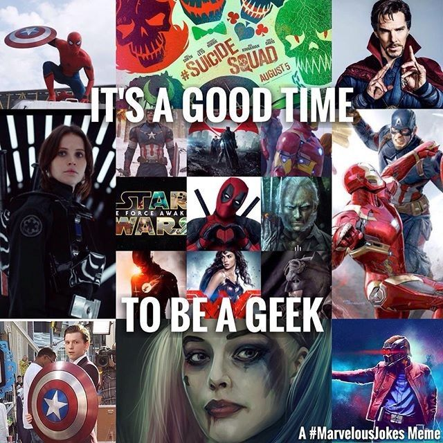 Isn't it always a good time to be a geek? #repost @marvelousjokes #MarvelousJokes #suicidesquad #deadpool #batmanvssuperman #bvs #drstrange #captainamericacivilwar #batmanvssupermandawnofjustice #gotg #captainamerica #theforceawakens #geek #nebriated #fun #deadpoolmovie #marvel #dc #dcgram #dccomcis #marvelcomics #marveluniverse