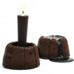 Food designer Stephane Bureaux's chocolate candle for a creative birthday cake.