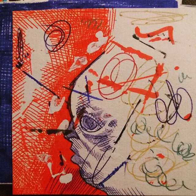 WEBSTA @ ufuk_ataoztrk - She sees dream once in a blue moon. #wild #red #dreams #pain #art #drawing #onceinabluemoon #ballpointpen #boardmarker #postit #alexschoeller