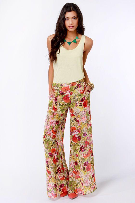 Hip Floral Print Pants - High-Waisted Pants - Wide-Leg Pants - $44.00
