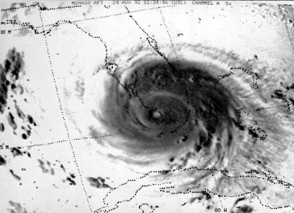 Satellite view of Hurricane Andrew sweeping across Florida (August 24, 1992). | Florida Memory