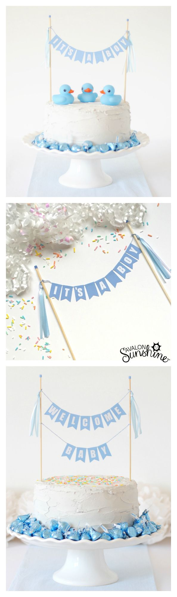 Cake Topper for Boys Baby Shower - Available in many colors and different wording options.  Bake your own simple cake and make the decorating easy with this cake topper!