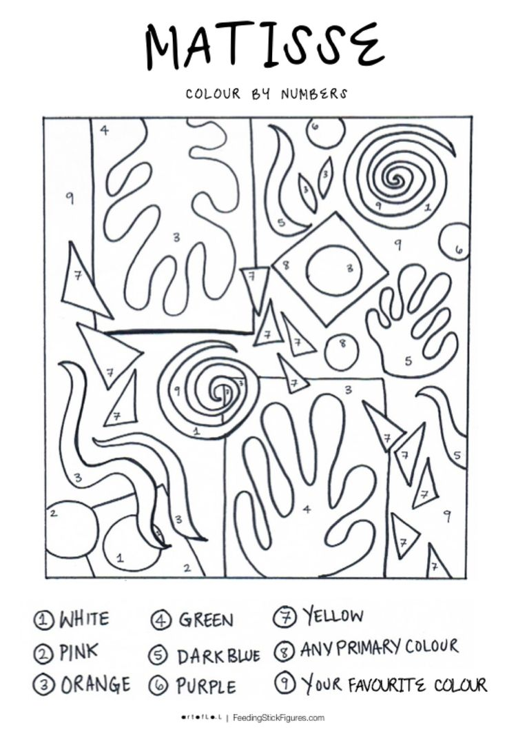 Really awesome matisse colour by numbers colouring - Coloriage matisse ...