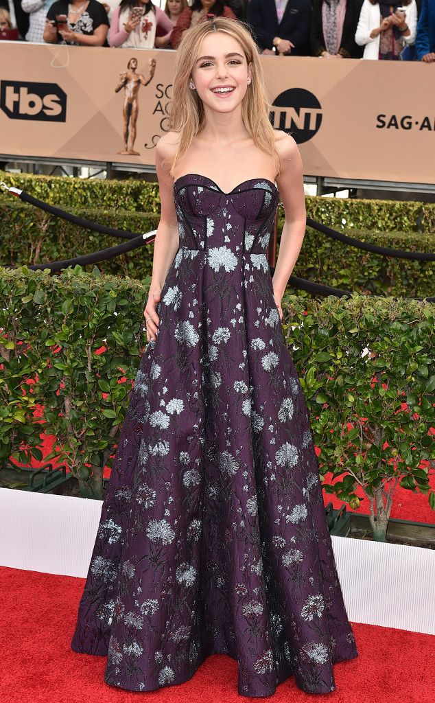 Kiernan Shipka from Best Dressed at 2016 SAG Awards The Mad Men starlet is delightfully charming in this off-the-shoulder brocade gown by Erdem.