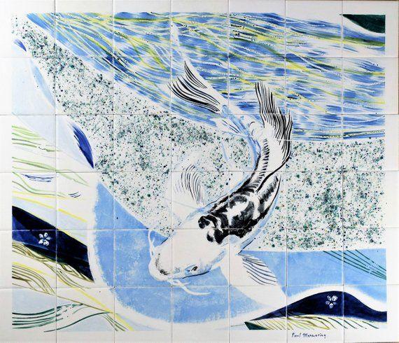 Backsplash Hand Painted Tile Mural Splashback With Koi Etsy Bathroom Tile Mural Tile Murals Backsplash Tile Mural