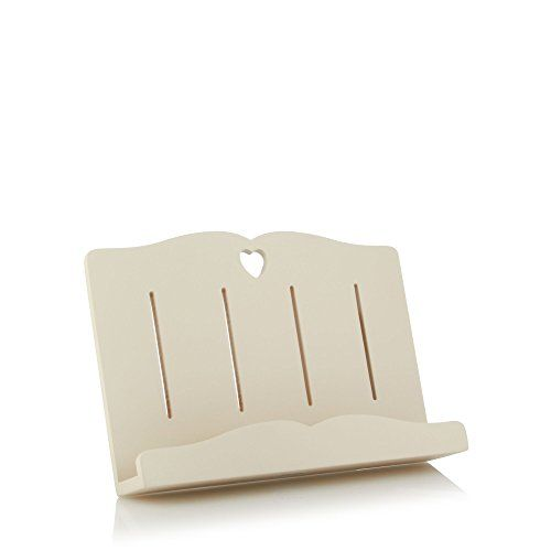 At home with ashley thomas cream wooden heart cut out book stand debenhams - Cream recipe book stand ...