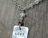 Hand Stamped Charm Love Necklace ~ $20.00