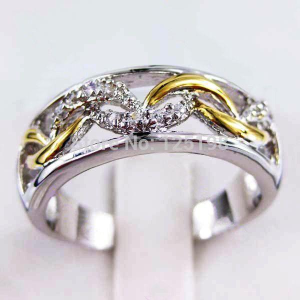 Продвижение Белый Сапфир & Желтый Циркон Камень Палец Кольца Из Белого Золота Заполненные Ювелирные Изделия Кольца для Женщин Свадебное RW0102