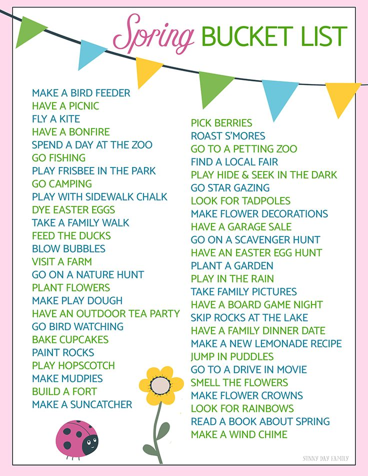 50 Fun Ideas for Your Spring Bucket List | Free Printable