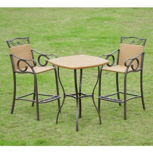 Check Out The International Caravan Valencia Resin Wicker Steel Bar Height Bistro Set Of 3