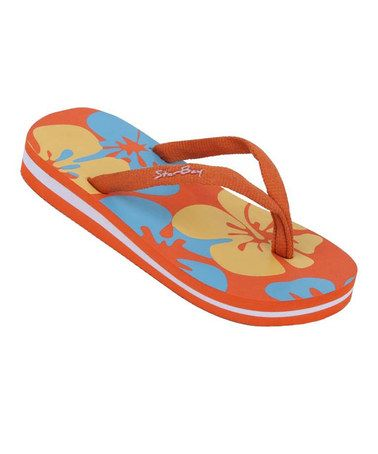 Take a look at this Orange Hawaiian Flip-Flop on @zulily today!