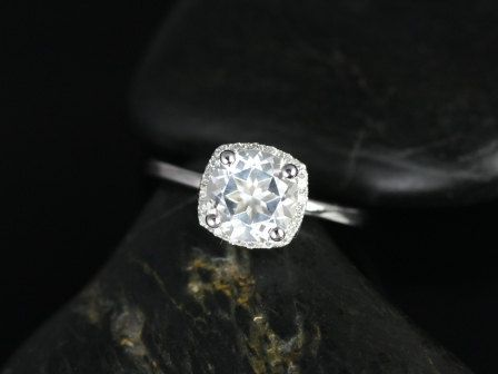 NEW Malia 14kt White Gold Thin White Topaz and Diamond Cushion Halo Engagement Ring (Other metals and stone options available) on Etsy, $890.00