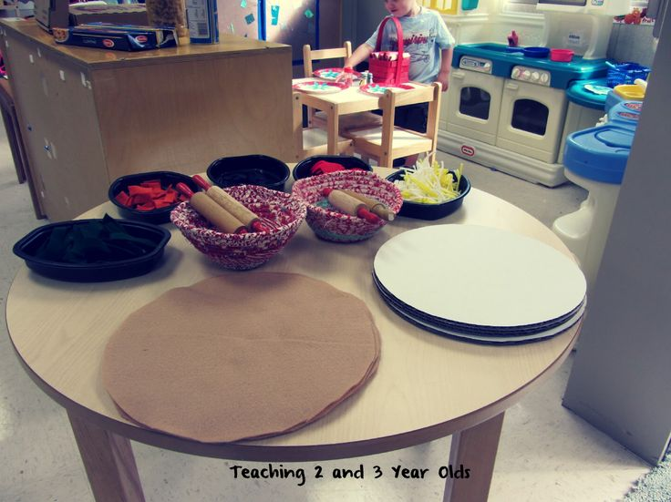 Dramatic Play Pizzeria play center with felt pizzas and real boxes! Teaching 2 and 3 Year Olds: Our Pizzeria