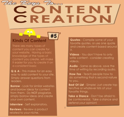 #5 - The Keys To Content Creation - Types of content! .. Visit Website SEO Chick FB page at http://www.facebook.com/websiteseochick