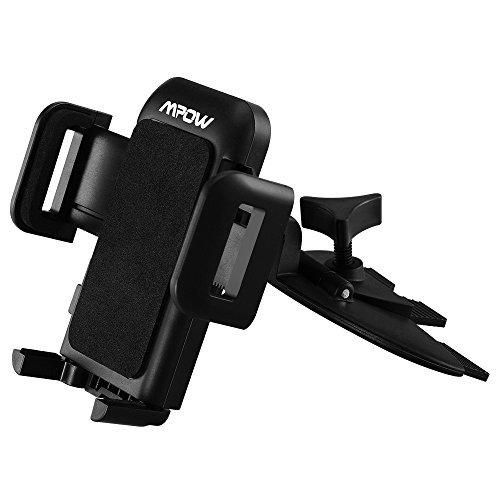 Mpow CD Slot Car Mount Universal Cell Phone Holder with Three Side Grips for Smartphones