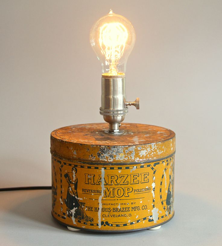 Vintage Harzee Tin Lamp - Great idea for repurposing tins!