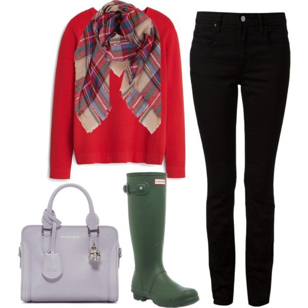 rainy day outfits // #red #sweaterweather #blackjeans #black #bag #hunter #hunterboots #rainboots: