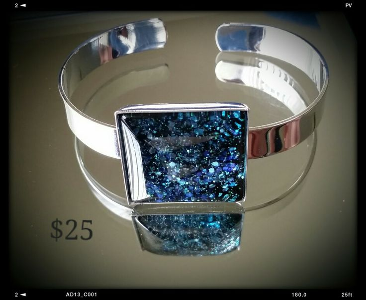 Glitter and enamel cuff made by mellow studio on FB