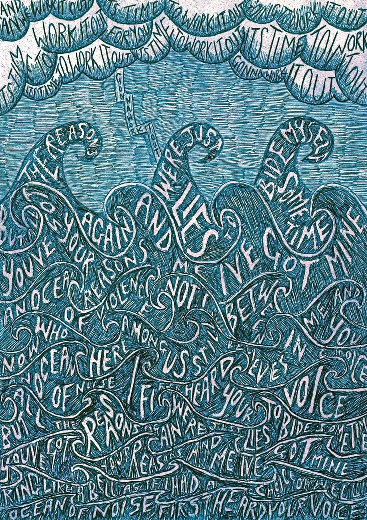 Ocean Sea Illustration Print blue by SophiePrestonDesign on Etsy, £10.00