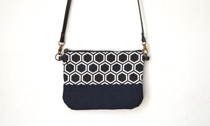 Cross body bag, Silkscreen print, Japanese pattern, Small crossbody bag, Fabric shoulder bag, Leather strap zippered bag by UMEHARAKABAN on Etsy