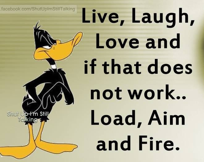 Pinterest Jokes: Live Laugh Love If That Doesn't Work Load Aim And Fire
