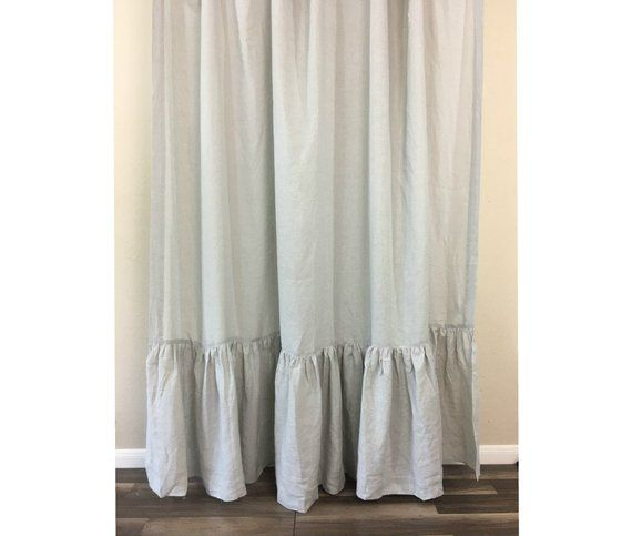 Stone Grey Linen Shower Curtain With Mermaid Long Ruffles Custom Size Shower Curtain Extra Long W Grey Linen Curtains Ruffle Curtains Linen Curtains