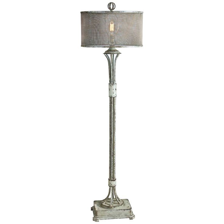 Uttermost Pontoise Distressed Aged Ivory Green Floor Lamp - Style # 7W441