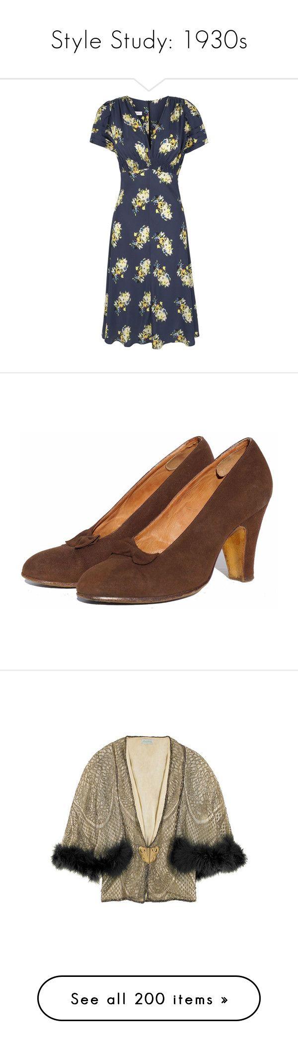 """Style Study: 1930s"" by princesstwi ❤ liked on Polyvore featuring dresses, vestido, vintage looking dresses, vintage pattern dress, below knee dresses, urban dresses, tea dress, shoes, pumps and heels"