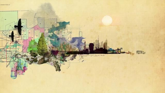 """When The Ford Foundation held a 75th anniversary event to explore how fairness, opportunity and equity can serve as defining features in the creation of """"The Just City"""", we were asked to create an an animated visual to serve as opening to the lecture series. Part graphic, part watercolor, part collage, with a layering of architectural line work.  A painterly abstraction that gives way and expands. A visual story that evolves linearly with the multiplicity of the script but also cont…"""