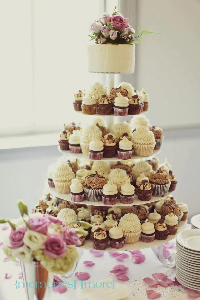 Gigi's Cupcakes wedding reception cupcake stands - mix of minis and full size cupcakes
