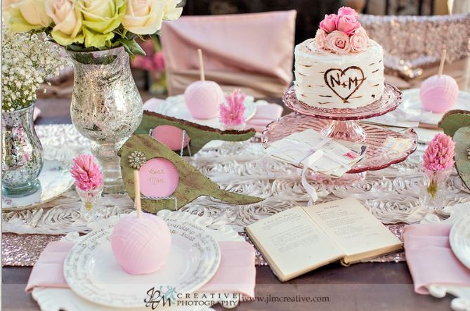 Pretty in Pink! This event could easily transition as a Breast Cancer Awareness event with the gorgeous texture and shades of pink.