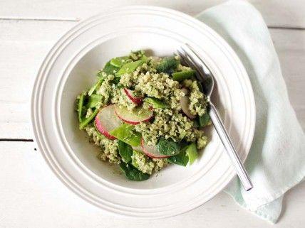 spinach pesto quinoa on the whole living blog.