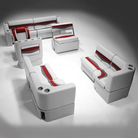 Gray, Red & Charcoal Pontoon Boat Furniture
