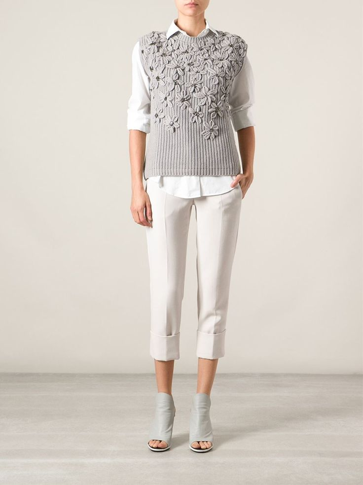 Brunello Cucinelli Embroidered Embellished Flowers Sweater - Spinnaker 141 - Farfetch.com