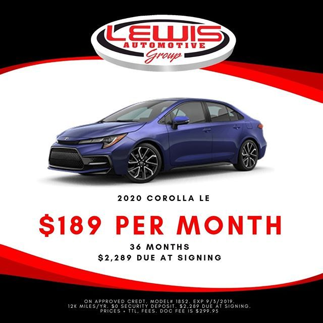 Lease A New Corolla For 189 Month Shop Lewis Toyota Today And