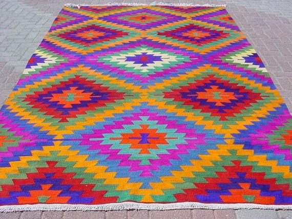 VINTAGE Turkish Area Rug Kilim Carpet Handwoven Kilim by sofART, $629.00