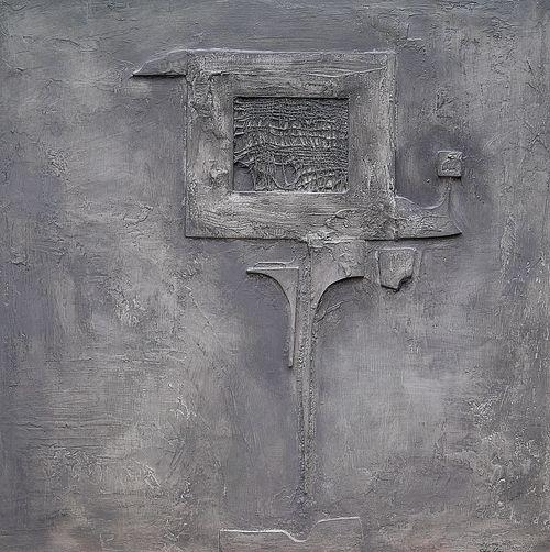 SENZOR XI  – akryl, kombinovaná technika, dřevo  – acrylic, mixed media, wood 60 x60 cm, 2015
