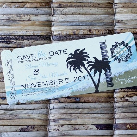Boarding Pass Invitation or Save the Date by SproullieDesigns