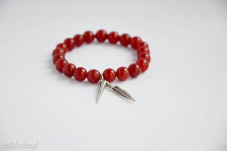 Bracelet sis piórko czerwonym marmurze bransoletki kamienie
