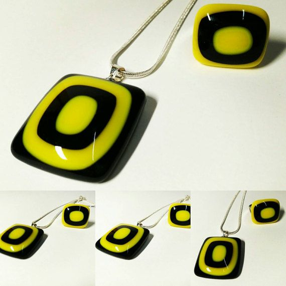 Bee set pendant ring by Katha https://www.etsy.com/listing/507636841/bee-glass-set-yellow-black-necklace-and